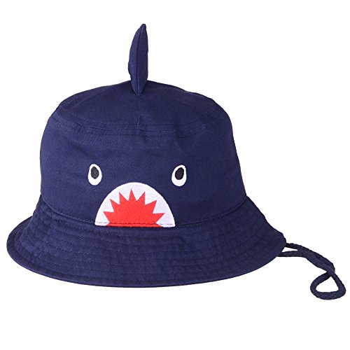 Baby Animals Bucket Hat - Cute Infant Toddler Kids Breathable Sun Protection Hat with Chin Strap for Boys Girls (Dark Blue Shark) 2-4Y