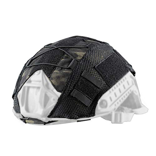 OneTigris Multicam Helmet Cover - No Helmet (Multicam Black for Ballistic Fast Helmet in Size L & Fast PJ Helmet in Size L/XL)