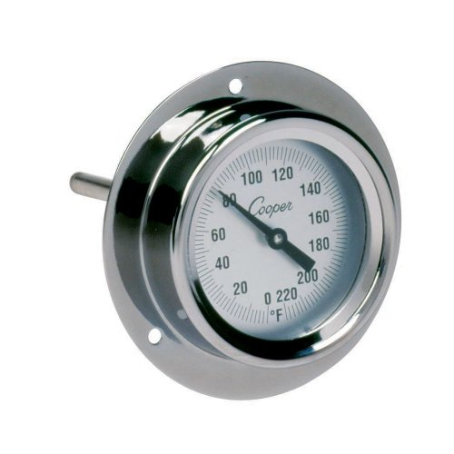 (Cooper-Atkins 2225-02-5 Stainless Steel Bi-Metals Industrial Flange Mount Thermometer, 0 to 220 degrees F Temperature Range)