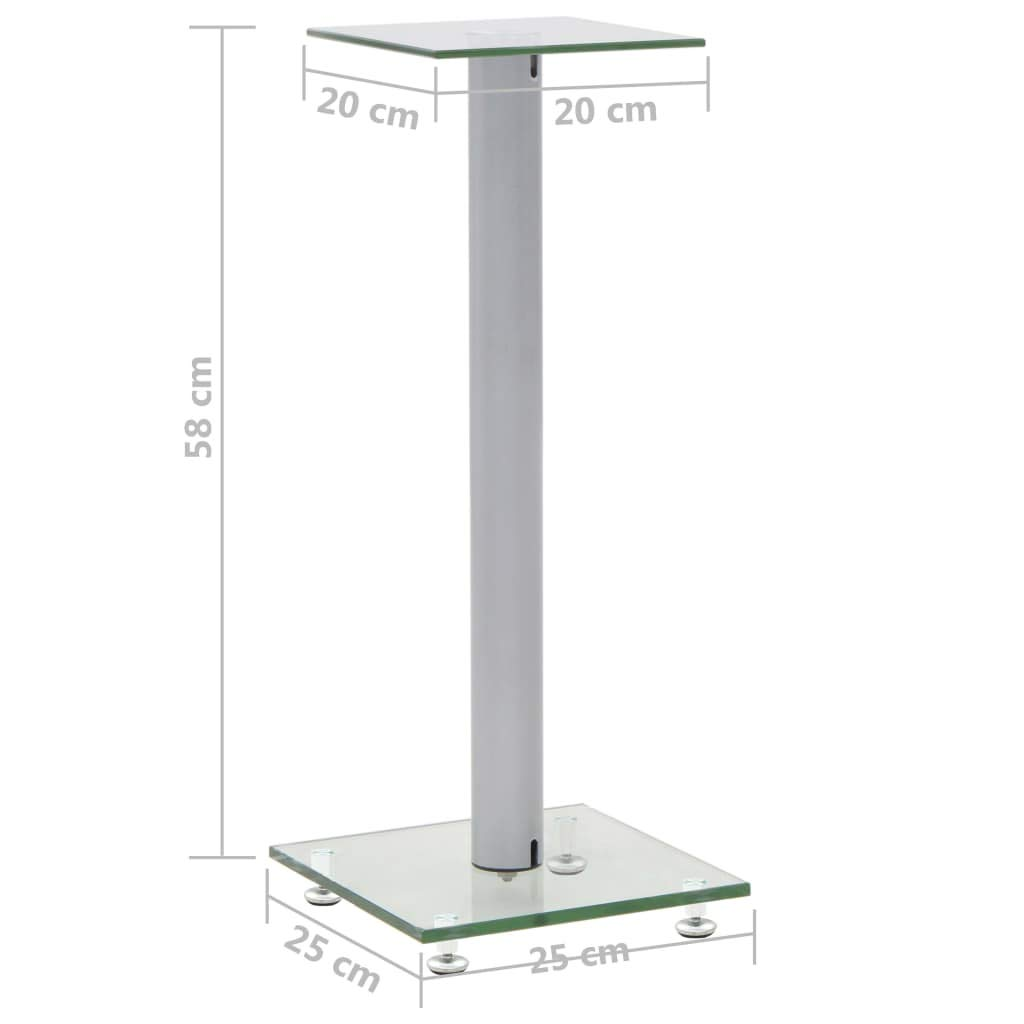vidaXL 2X Support de Haut-Parleur Verre Tremp/é Design 1 Colonne Pieds Enceinte