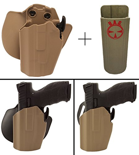 Safariland Rogers Holster SIG SAUER P229R ELITE, P228 NO RAIL 9MM Pro-Fit 578-283-552 7TS GLS Compact Multi-Fit Paddle & Belt Left Hand, Flat Dark Earth + Ultimate Arms Gear 9/.40/.45 Mag Pouch
