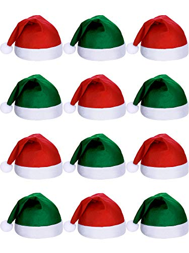 SATINIOR 12 Pieces Santa Hats Christmas Non Woven Fabric Hat for Holidays Xmas (Green and Red) ()