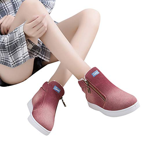 Gyoume Winter Jeans Ankle Boots Women Denim Snow Boots Shoes Zipper Flat Wedge Boots Shoes Keep Warm Winter ()