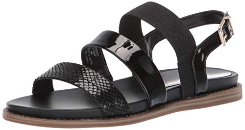 Anne Klein Women's Essence Casual Sandal Flat, Black, 8 M US