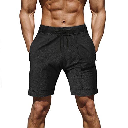 COOFANDY Men's Athletic Short Gym Beach Stretchy Drawstring Waist Running Shorts Black