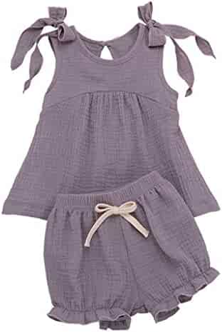 2f0dcd028e2b6 RAINED-Toddler Baby Girls 2PC Clothes Set Adjustable Strap Vest Tops Bow Shorts  Set Sleeveless
