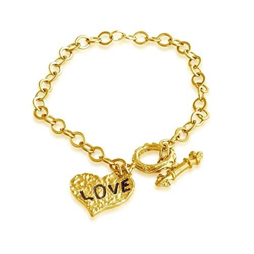 "Hammered Heart ""LOVE"" Charm Toggle Bracelet ()"