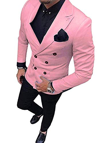 Fitty Lell Men's Suit 2 Piece Formal Double Breasted Groom Blazer Mens Wedding Suits(40 ()