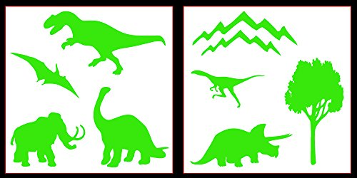Auto Vynamics - STICKERPACK-DINOSAURS-20-GLGRN - Gloss Lime Green Vinyl Detailed Dinosaur Silhouettes Sticker Pack - Features Multiple Dino Designs & Scenery! - 20-by-20-inch Sheets - (2) Piece Kit - Themed Set