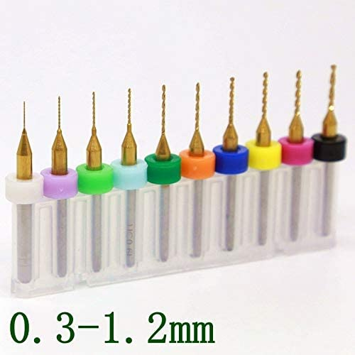 KANGF-TOOL, Titannitriert PCB Bohrer 0.2-1.2mm, 10PCSCNC CNC-Fräser, Mini Stich-Werkzeug Printed Circuit Board Router (Größe : 1.0mm)
