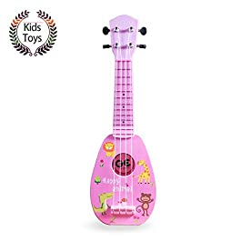 YOLOPARK Mini Guitar Ukulele Toy for Kids, 4 Strings Keep Tones Can Play Not Electronic Ukulele, Children Musical…