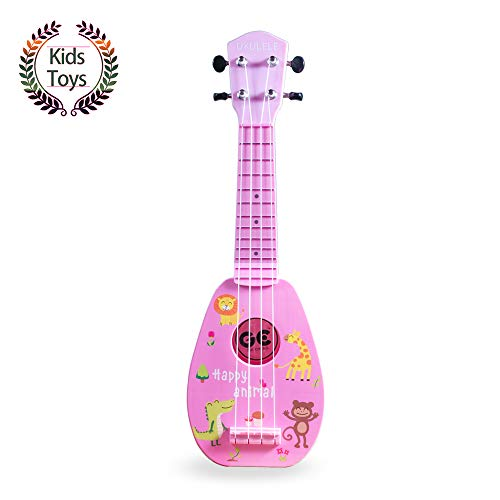 Yolopark 17″ Mini Guitar Ukulele Toy for Kids, 4 Strings Keep Tones Can Play Not Electronic Ukulele, Children Musical Instruments Educational Toys with The Picks and Strap for Beginner Starter (Pink)