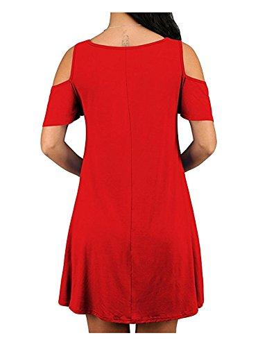 Legou Tunique Épaule Froide Femmes Mini-robe Noire