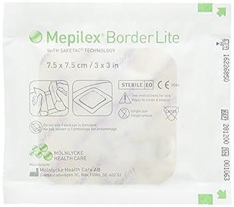 Mepilex Border Lite: Medicazione in Schiuma di Poliuretano Assorbente Sottile con Bordo Integrato con Tecnologia Safetac Cm 7,5X7,5: Amazon.es: Amazon.es