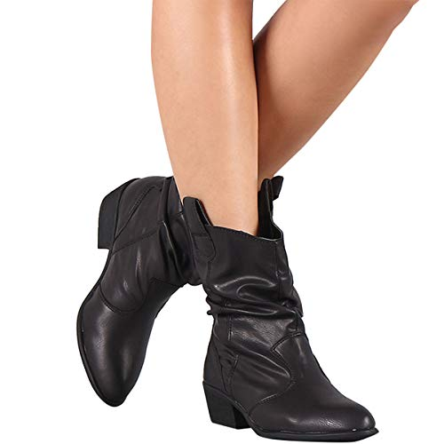 - BAMBOO Womens Almond Toe Slouchy Shaft Low Heel Pull On Cowboy Western Ankle Boots Bootie 8.5 Black