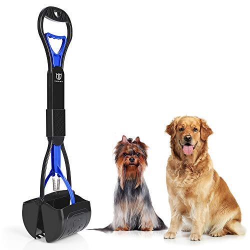 DEGBIT Portable Pet Pooper Scooper for Dogs and Cats, Long Handle, Premium Materials and Professional Ergonomic Design, Foldable Dog Poop Waste Pick Up Rake, Jaw Claw Bin for Grass and Gravel