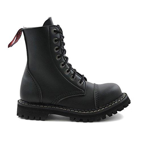 Negro Itch Botas Agujero Cuero 8 De Militares Veganos Angry Tgq044