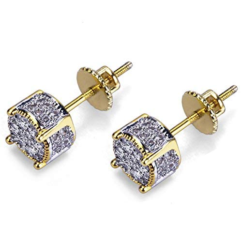 14K Gold and Silver Plated Iced out CZ Cluster Round Bling Screw Back Stud Earrings for Men and Women Hip Hop Jewelry