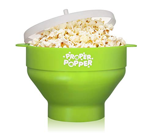 The Original Proper Popper Microwave Popcorn Popper, Silicone Popcorn Maker, Collapsible Bowl BPA Free & Dishwasher Safe (Green)