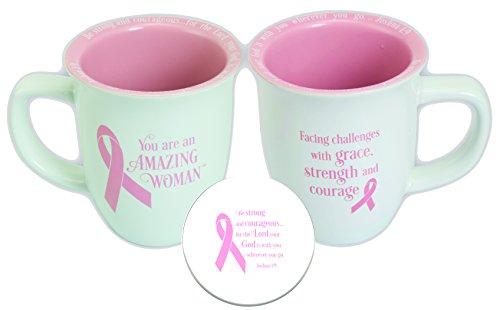 Abbey Gift Amazing Woman Pink Ribbon Coaster Mug ()