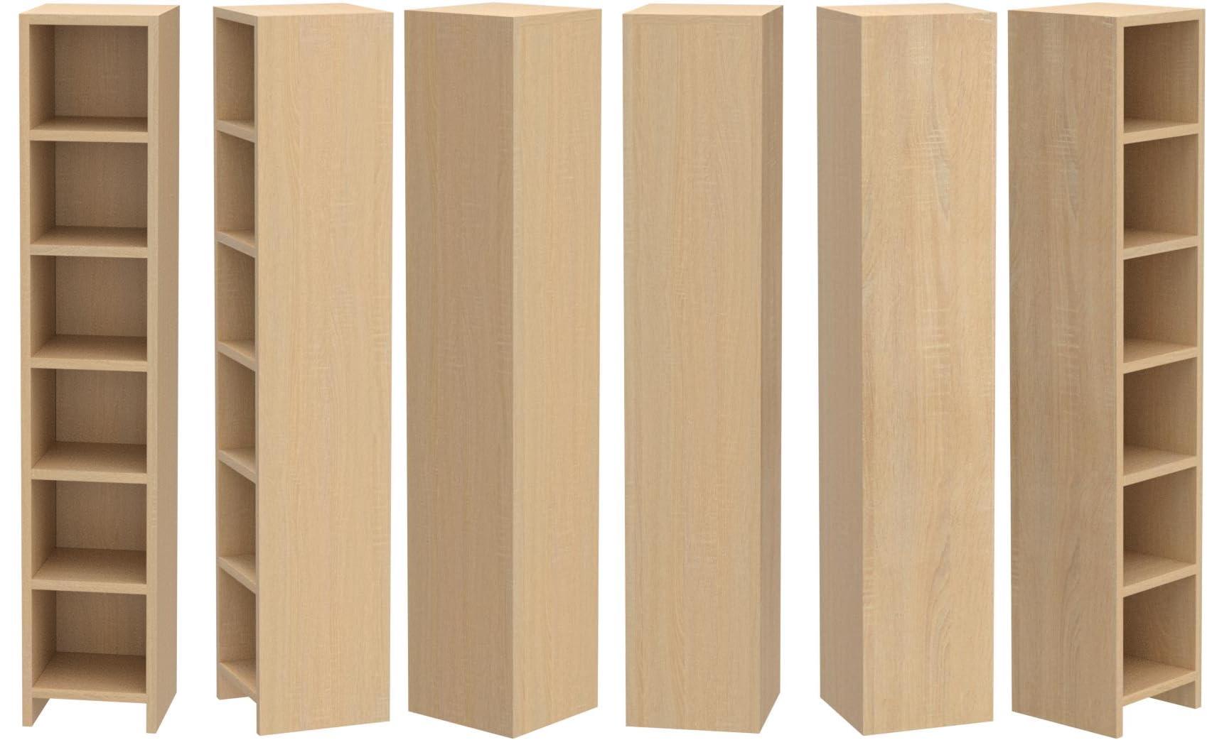ts-ideen – Estantería con 6 casillas para CD, aspecto de madera de roble, 105 x 20 cm