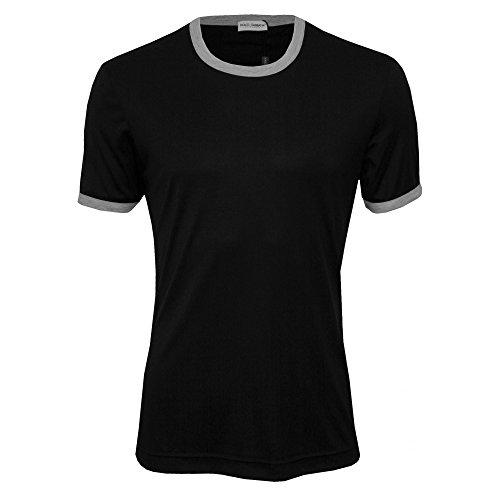 Dolce & Gabbana  Men's Modal Silk Crew Neck T-Shirt Black - Clothes And For Gabbana Men Dolce