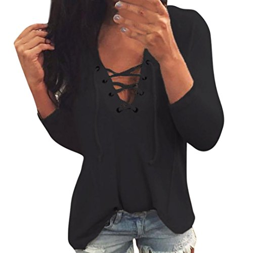 Sale Fishnet - Clearance Sale! Blouse for Women, Jiayit Women's Criss Cross Casual Cami Shirt Long Sleeve V-neck Tank Top Basic Lace up Blouse (XL, Black)