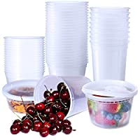 48 Pack Food Storage Containers with Lids 8oz 16oz 32oz Plastic Containers Freezer Deli Cups Clear Round Slime Soup Meal Prep Takeout Containers BPA-Free Microwavable by Hapree