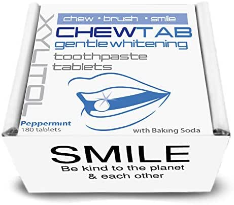 Chewtab Gentle Whitening Toothpaste Tablets with Baking Soda, Peppermint, Zero Waste Refill