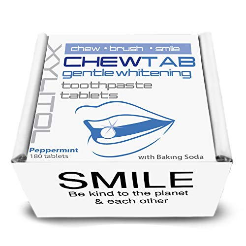 (Chewtab Gentle Whitening Toothpaste Tablets with Baking Soda, Peppermint, Zero Waste Refill)