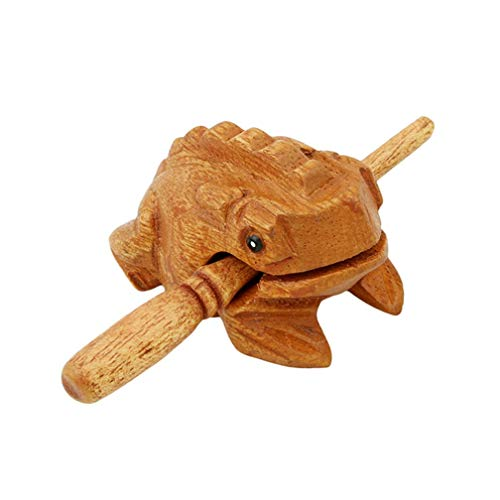 (Tcplyn Premium Quality Mini Wooden Croaking Frog Güiro - Fair Trade Percussion Instrument - Fun for All Ages. Wooden Color)