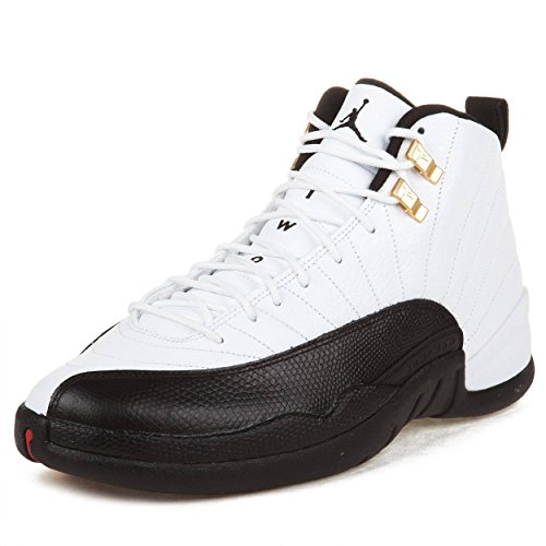 NIKE Mens Air Jordan 12 Retro Taxi White/Black-Taxi-Varsity Red Leather Basketball Shoes Size 12
