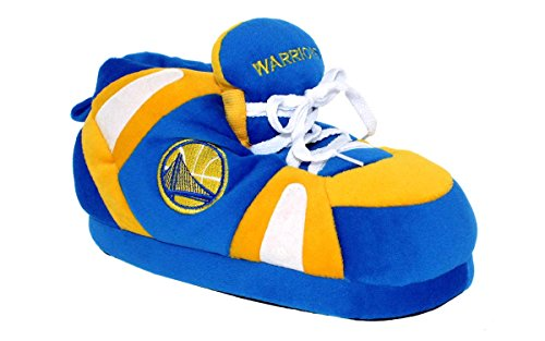 GSW01-3 - Golden State Warriors - Large - Happy Feet Mens and Womens NBA Slippers