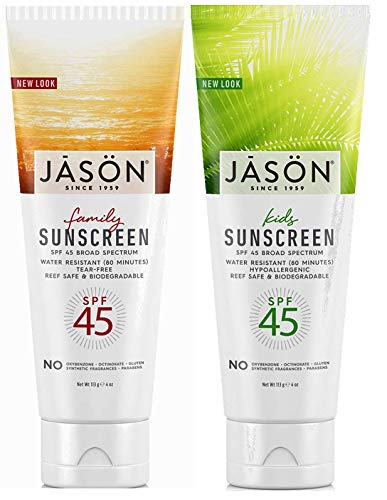 Jason Family Sunscreen and Kids Sunscreen Bundle, All Natural and Organic Broad Spectrum SPF45 Protection, With Calendula & Chamomile, For Sensitive Skin In Water-Resistant Formula, 4 oz. each