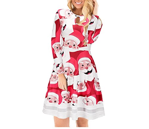 Printed Women Dress Party Pattern4 Mesh Pullover Christmas Waist Comfy Stitching 5Ogfwxx