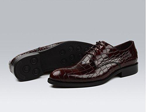 Zapatos Clásicos de Piel para Hombre Zapatos de cuero para hombres Negocios Ropa formal Zapatos de boda de encaje estilo británico ( Color : Vino rojo , Tamaño : EU42/UK7.5 ) Vino Rojo