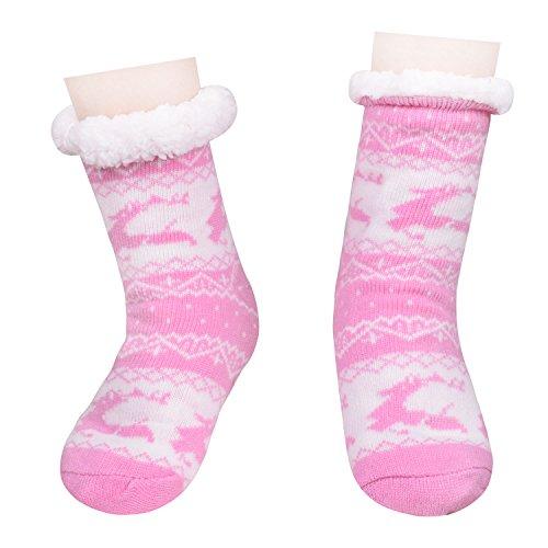 Noël Pantoufles Chaudes Floues Chambre Chaussures Antidérapantes Chaussettes Longues Pantoufles Pour Les Femmes Rose