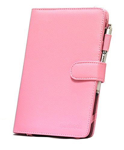 """Navitech 7"""" Pink Leather Book Style Folio Case / Cover & Stylus Pen For The Samsung Galaxy Tab 4 Nook"""