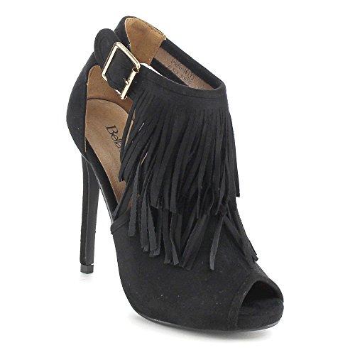 Women's 28 Black Toe Peep Vanesa Fringe Ankle Bootie Marie Bella EqwtRR