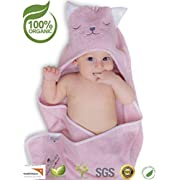 Premium Hooded Baby Towel, 100% ORGANIC Bamboo, FREE Baby Bib, Perfect Baby Shower Gift, 35x35  for Newborns Infants Toddlers & Kids, for Boys and Girls at Bath Pool & Beach, Better than Cotton (PINK)