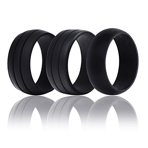 Wooden 9 Ball Diamond (Jet-Bond FS10 Men's Silicone Wedding Ring Band Pack of 3 Designs Black for Comfort Fitness Exercise Active Husband Engineers(Black of 3, size 9))