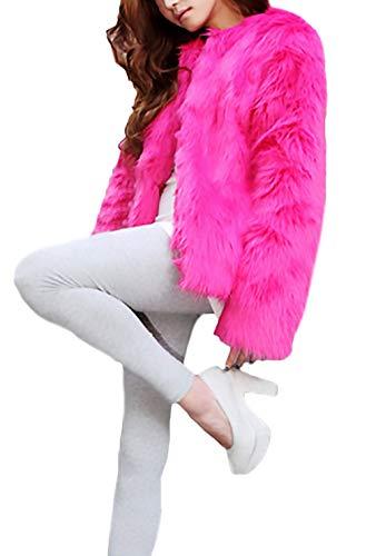 Lunga Classiche Cappotto Giaccone Morbidi Pelliccia Di Autunno Giubbotto Donna Giacca Finta Addensare Rosa Eleganti Accogliente Manica Caldo Invernali Unique Donne AqwaAx