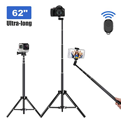 Selfie Stick Tripod, 62 inch Ultra-Long Extendable Selfie Stick Tripod Stand Aluminum Alloy All-in-1 with Bluetooth Remote for iPhone XR MAX XS X 8 7 6 Plus, Samsung Galaxy S10 S9 S8, Android, GoPro