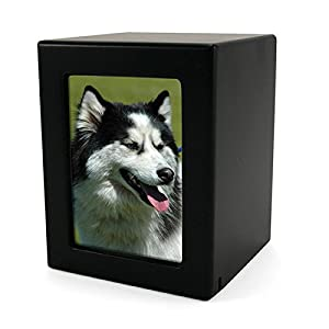 Wood Photo Pet Urn - Medium - Holds Up To 85 Cubic Inches of Ashes - Black - Engraving Included