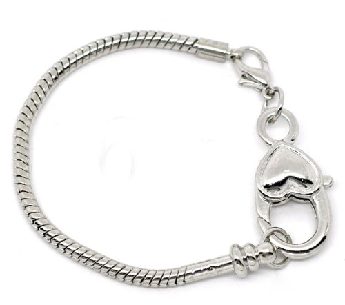 Heart Lobster Clasp Charm Bracelet Silver Plated . Available All Size Drop Down Menu (7.5 Inches) (Charm Clasp Heart Lobster)