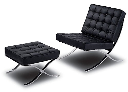 Mid Century Modern Classic Barcelona Style Replica Lounge Chair & Ottoman With Premium PU Black Leather and Stainless Steel Frame (1960 Style Outdoor Furniture)