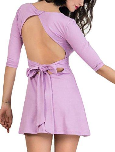 Domple Femmes Mini Parti Backless Évasées Bandage Patineur Robe Ras Du Cou Clubwear 1