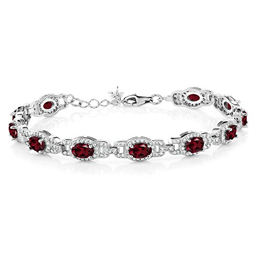 - Gem Stone King 9.10 Ct Oval Red Rhodolite Garnet 925 Sterling Silver 7 Inch Bracelet With 1 Inch Extender
