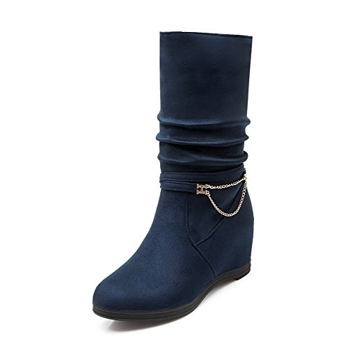Pull Round Toe Boots Women's Blue Solid Imitated on Closed Heels Suede High WeenFashion xnCzg1Tqn