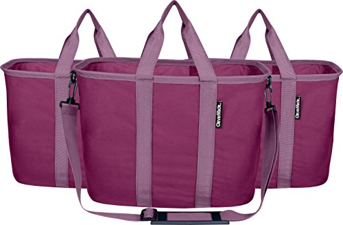 CleverMade EcoBasket Reusable Grocery Tote Bags with Shoulder Strap - Collapsible 20L Shopping Baskets, Plum/Lavender, 3 Pack